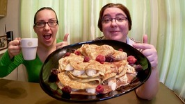Swedish Pancakes With Chocolate Ganache And Bananas-Gay Family Mukbang -Eating Show