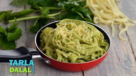 Veg Fettuccine Pasta In Pesto And Coriander Sauce