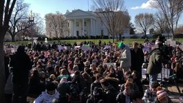 Students Sit in Silence in Front of the White House