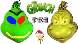 MAKING THE GRINCH'S FACE w/ Kinetic Sand, PEZ Candy, Slime, Mask - Surprise Toys Game