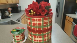 UPCYCLED COFFEE CAN USING DOLLAR TREE RIBBON - CHRISTMAS CRAFTS