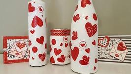 Mod Podge Bottles Using Gift Tissue - Valentines Day Crafts
