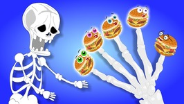 Crazy Skeleton Trying To Scare Burger Finger Family Rhymes For Children - Skeleton Colors Learning