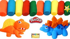 Learn Colors MAKING PLAY-DOH DINOSAURS at Play Doh Dino World  BUDDY THE DINOSAUR