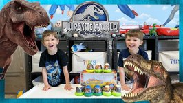 Dinosaur Eggs Challenge! Kids Jurassic World Surprise Toys with Chase and Cole Adventures