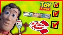 Toy Story 4 Podcast - Forky - Jace's Toy Playhouse - Woody Pretend Play - Pizza Planet Diy Forky Toy