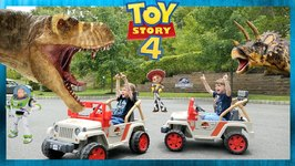 Toy Story 4 Dinosaur Escape Showdown - Buzz Lightyear vs Giant T-Rex - Chase and Cole Adventures