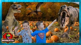 Dinosaur Halloween Party Goes Wrong! Spooky Trick or Treat & Pumpkin Patch with Dinosaur Patrol