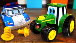 Robocar Poli Toys and a Tractor for Kids- Police Car Poli and Fire Truck Roy - Garage Toys for Kids