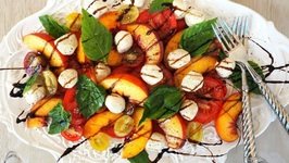 Salad Recipe- Peach And Tomato Caprese Salad