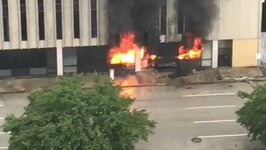 Flames Seen Amid Fire in Building in Downtown Houston