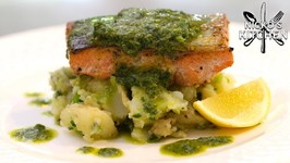 Cheap And Healthy Family Meal / Salmon With Salsa Verde And Herb Potato