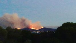 Wildfires Light Up Evening Sky on the Coast of Sardinia