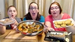 Moroccan Chraime Salmon, Pan Fried, Potato Pancakes And Homemade Sourdough Bread Mukbang