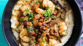 Shrimp and Grits with Bacon and Mushrooms
