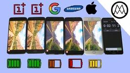 Oneplus 5T vs Pixel 2 XL vs S8 vs iPhone 8 Battery life Drain Test