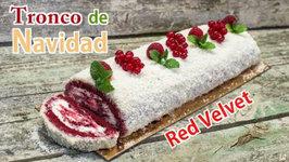 Tronco de Navidad Red Velvet Delicioso y Súper Fácil - Receta Brazo de Gitano Navideño Paso a Paso