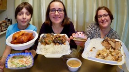 Chinese Food Take Out, BBQ Chicken And Mouse Mousse Cake -Gay Family Mukbang -Eating Show