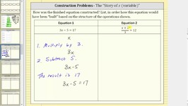 Construction of Equations Using the Story of the Variable (x) - Two Steps