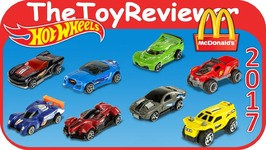2017 Hot Wheels Cars McDonalds Happy Meal COMPLETE SET 8 Unboxing Toy Review