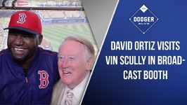 David Ortiz Visits Vin Scully In Broadcast Booth