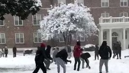 North Carolina Students Celebrate Snow With Snowball Fight