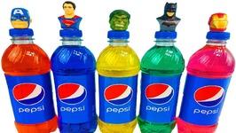 Superhero Pepsi Bottles Wet Surprise Toys Hulk Learn Colors