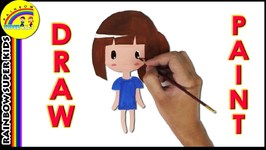 How To Draw Girl And Painting For Children - Drawing And Painting For Kids - Coloring Page For Kids