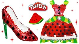 Diy Princess Play Doh Sparkle Fruit Dresses And Shoes High Heel Making With Glitter Toys For Kids