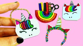 4 DIY Miniature Unicorn Crafts - Purse Notebook Hair Band And Pencil Case - 4 Easy Doll Crafts