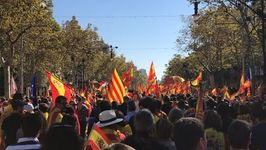 Pro-Spanish Unity Supporters March Through Barcelona