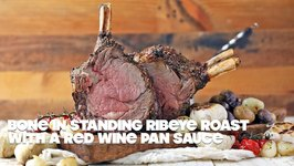 Bone In Standing Ribeye Roast With Red Wine Pan Sauce