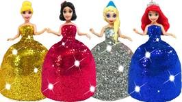 Disney Princess Play Doh Sparkle Magiclip Super Glitter Dresses Surprise Toys for Kids