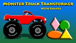 Red Monster Truck Transformer With Shapes Video For Kids