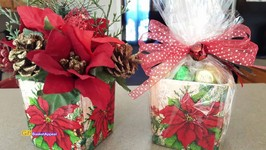 DOLLAR TREE DIY CHRISTMAS GIFT IDEA & DECOR  MOD PODGE NAPKINS