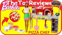Barbie Pizza Chef Doll and Playset Play-Doh Dough Store Food Unboxing Toy Review
