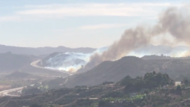Smoke Rises From Lilac Fire Near Fallbrook