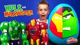 Hulk Vs Hulkbuster Iron Man Kinder Play-Doh Surprise Egg With Avengers Toysreview