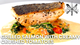Grilled Salmon With Creamy Crushed Tomatoes / Easy Keto Dinner In Under 15 Minutes