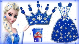 f9b1436f3d3 DIY Play Doh Sparkle Disney Princess Frozen Elsa Dress Crown Shoe High  Heels Modelling Clay For Kids