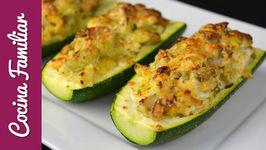 Calabacín relleno gratinado con queso parmesano para dieta - Recetas caseras