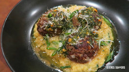Blue Cheese Meatballs On Polenta With Mint Pesto