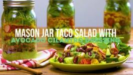 Mason Jar Taco Salad With Avocado - Cilantro Dressing