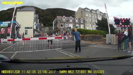 Family Try Their Luck at Level Crossing in Barmouth