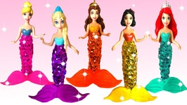 Play Doh Making Colorful Sparkle Princess Dress Mermaid Rainbow Glitter Modeling Clay For Kids