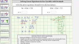 Solving An Equation In One Variable With Decimals - Keep Decimals - 1