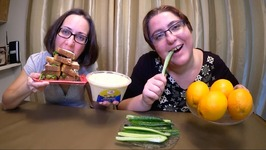 Chicken Salad Sandwich, Cucumbers And Hummus, Oranges /Gay Family Mukbang - Eating Show