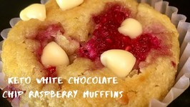 Keto White Chocolate Chip Raspberry Muffins
