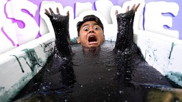 GOOEY BLACK SLIME BATH CHALLENGE