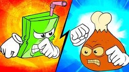 Battle Bites Videos For Kids - Hazardous Hot Wings VS Juiced Box - Food Battle - Funny Cartoons